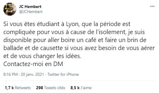 Le comédien Jean-Christophe Hembert tend la main aux étudiants en détresse